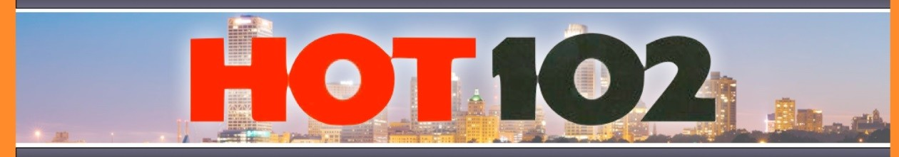 HOT102 logo and skyline