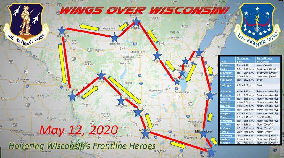 Wings Over Wisconsin flight path, May 12, 2020